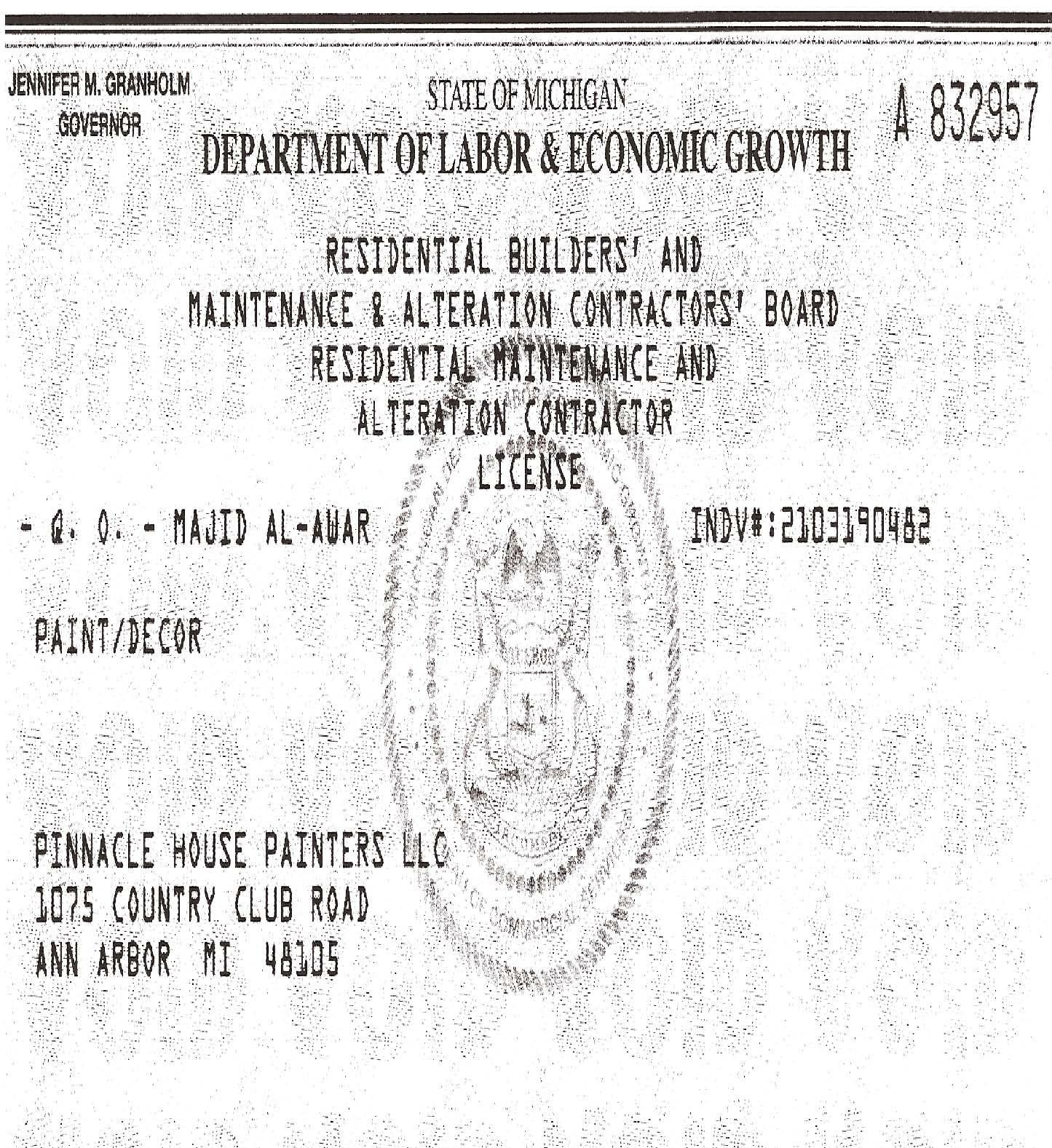 License & Insurance – Pinnacle